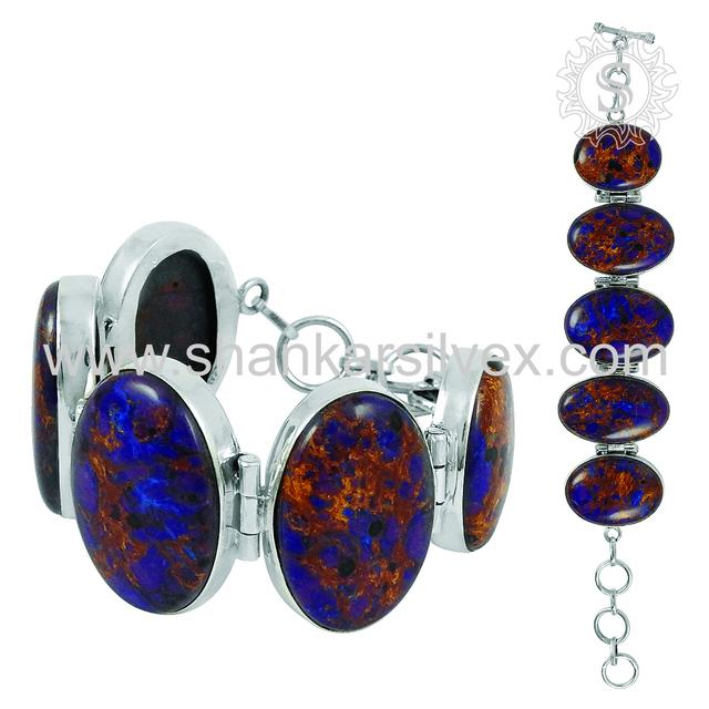 Gleaming Design Silver Bracelet Purple Copper Turquoise Gemstone Jewellery 925 Sterling Silver Bracelets Exporter