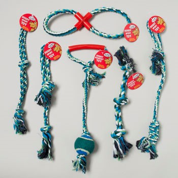 DOG TOY ROPE CHEWS 6 ASSORTED IN PDQ ASST -HANG TAG #66906PN