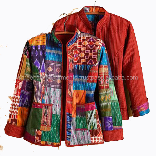 Silk Reversible Jacket Indian patch work women quilted coat