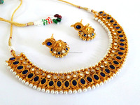South Indian Jewelry-indian ethnic Jewelry-Wholesale Punjabi Gold Plated Bridal Necklace Set-indian artificial bridal Jewelry
