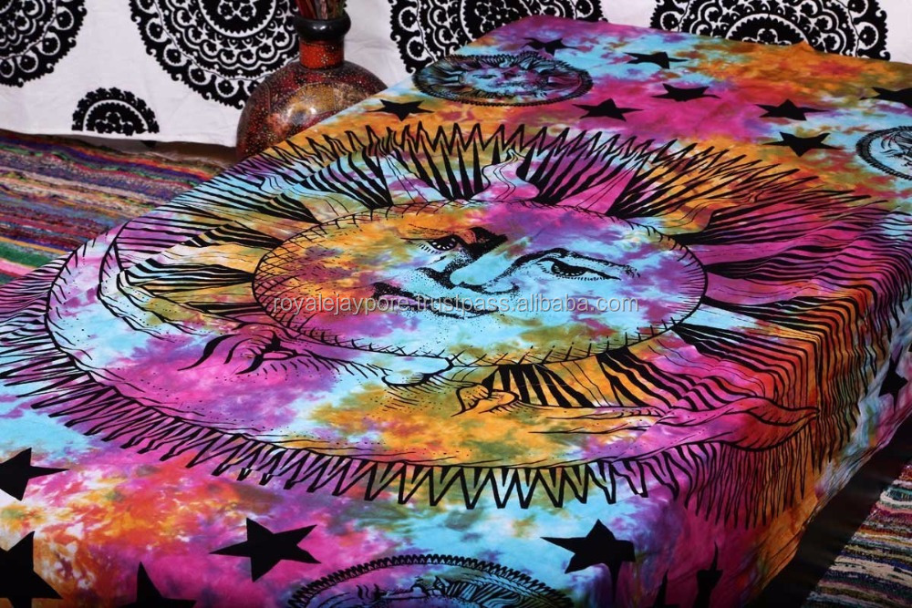 Tie and Dye Wall Hanging Mandala Hippie Indian Bedspread Bohemian Decor Throw