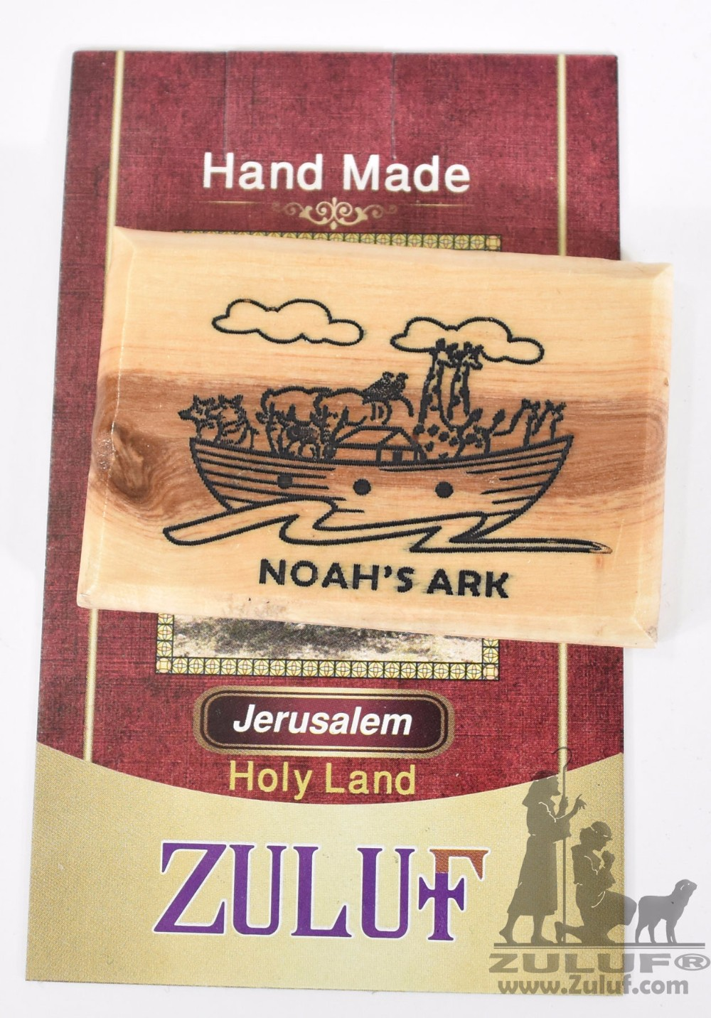 Noah's Ark Olive Wood Magnet - Zuluf Olive Wood Factory - MAG028