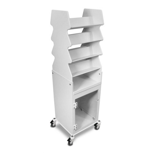 "TrippNT 50252CLEAR, 19"" x 57"" x 17"" White PVC Tall Slanted Suture Cart with Bulk Storage Area and Clear Acrylic Door"