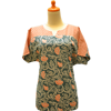 aurelia batik short-sleeved blouse collar v rl 1223