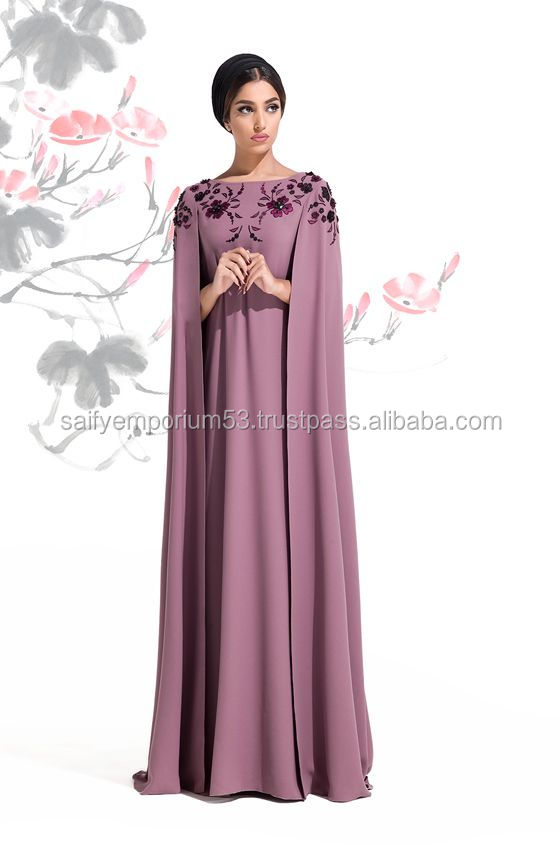 Lavender Purple Colour With Hand Work European Abaya
