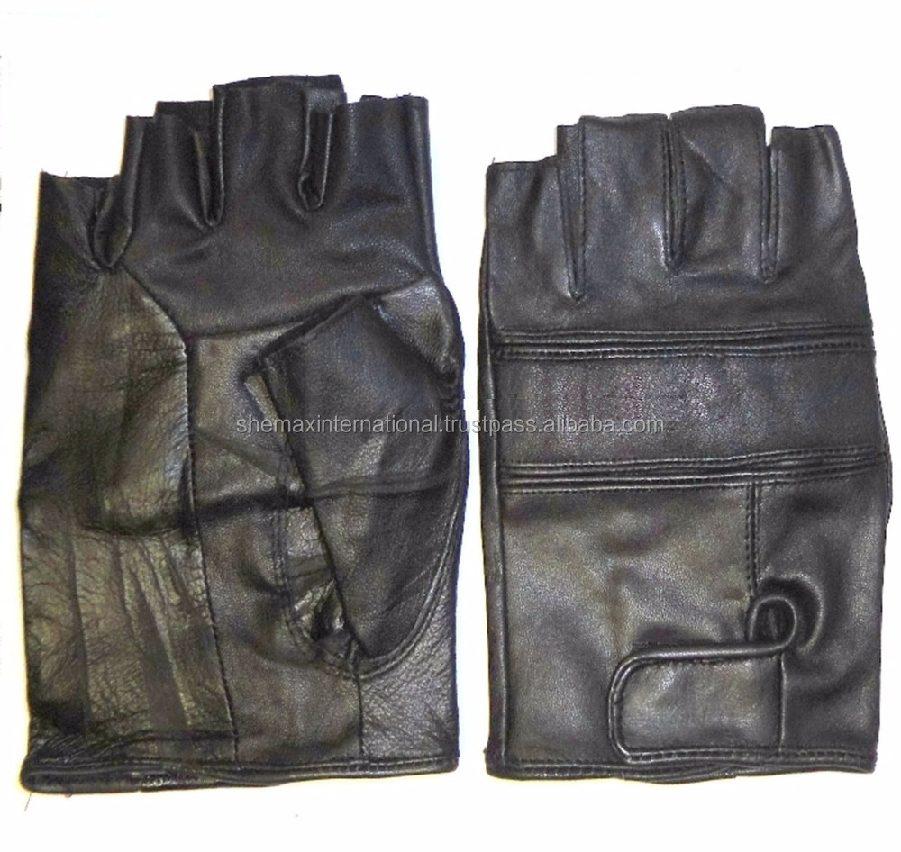REAL LEATHER CYCLING RUNNING GYM GLOVES MITTS ADULT BLACK HALF FINGERED
