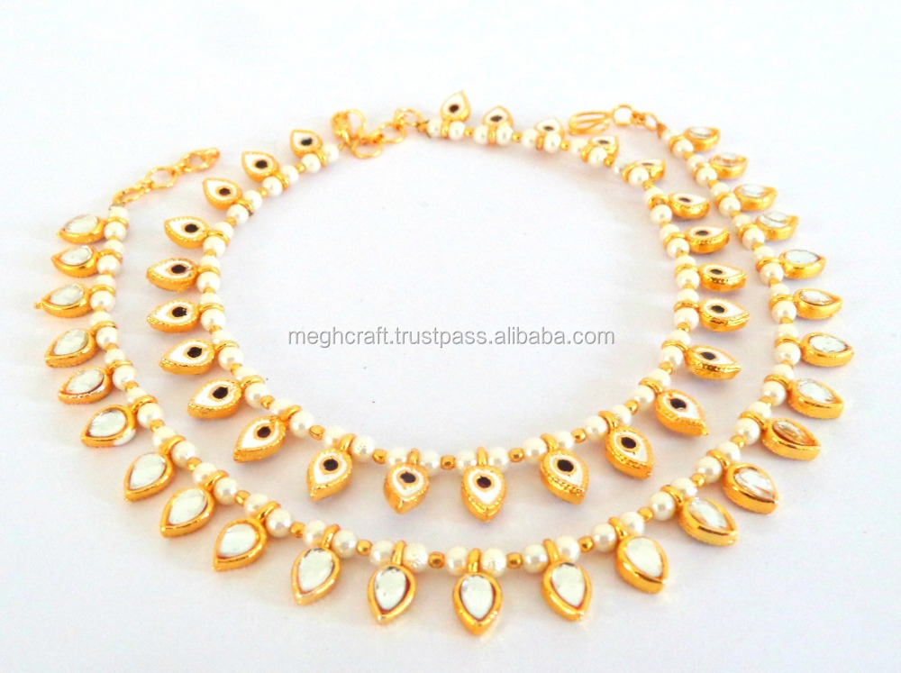 Indian Handmade Gold Plated Kundan Anklet - Payal-Bollywood Style Gold Plated Kundan Anklet - Payal Wholesale