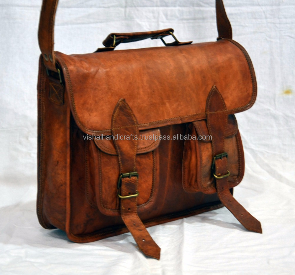 Indian Ethnic Mens real leather cross body bag vintage handmade laptop bag...