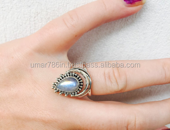 Rainbow Moonstone Boho Silver Ring