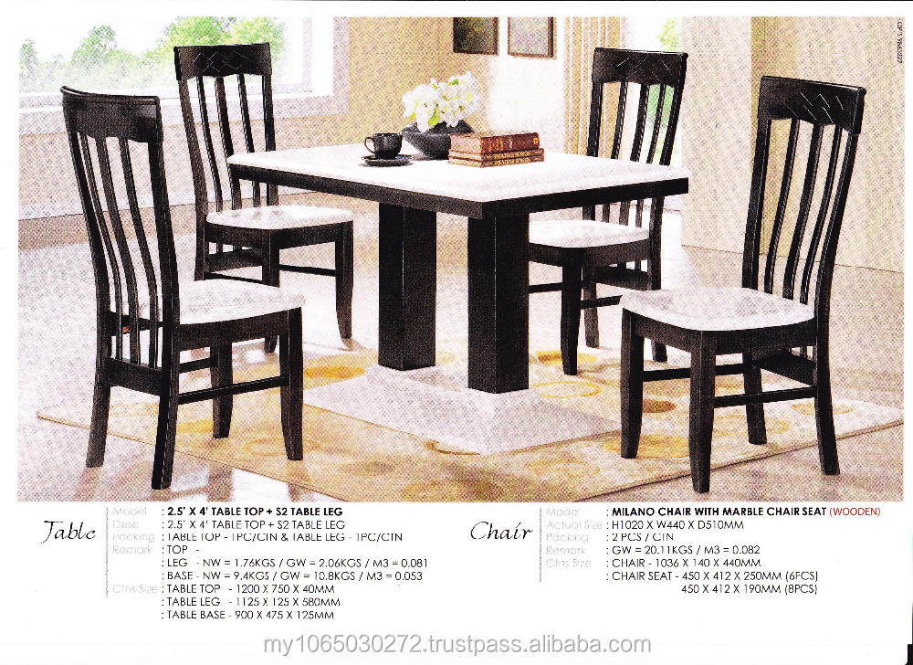 1 + 4 marble dining room table & Milano Chair with marble seat