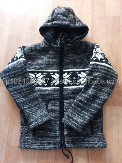 Woolen Jackets/Nepal/100% Wool/Knitted/ Jumper/Hoodie / Dark Grey Stripe