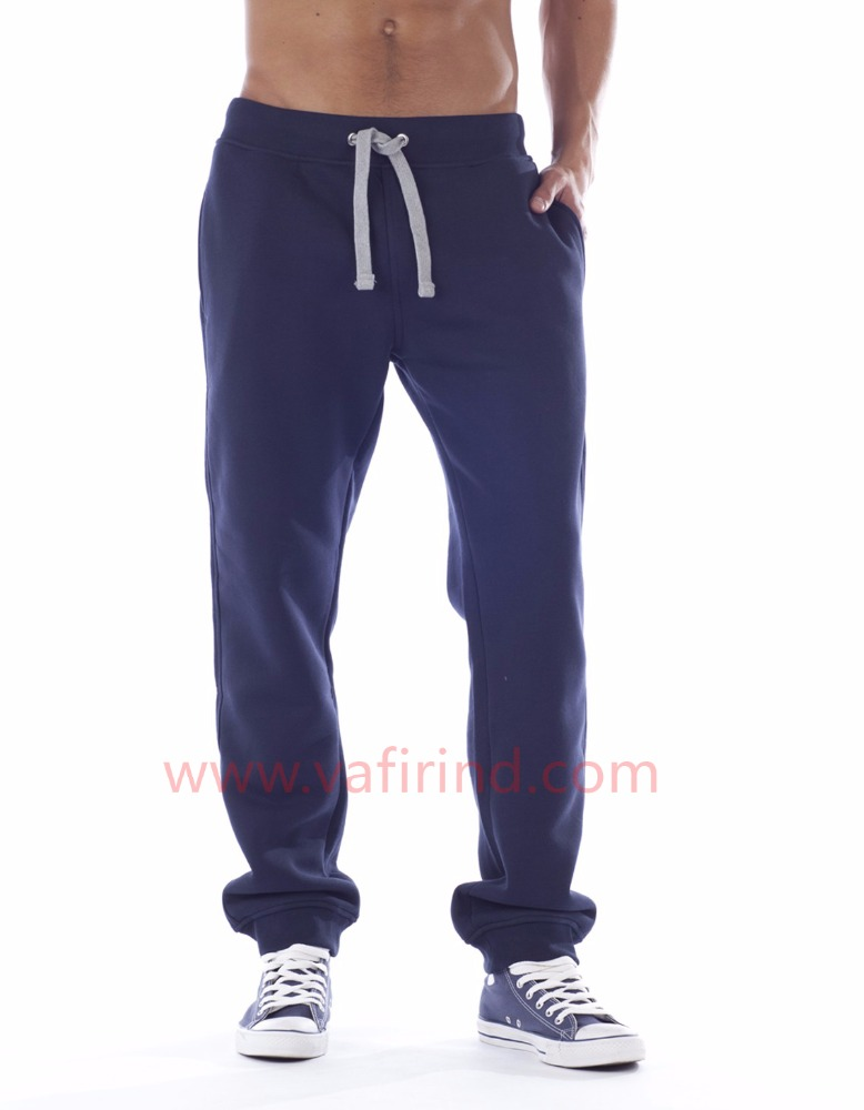 Latest design wholesale blue soft washed cotton/polyester fitness Sweatpants Trousers Men and women