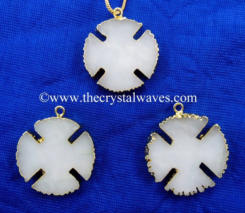 White Agate / Aventurine Viking's Cross Gold Electroplated Pendant