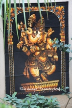 Traditional Hand Work God Ganesha Bedspread Tapestry Indian Wall Hanging Ethnic