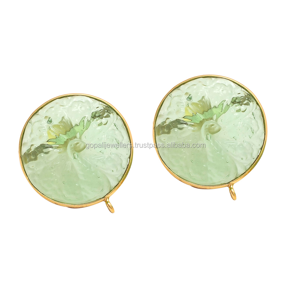 Prehnite Carwing Jade Stone Luxury New Style Model Fashion Party Earring