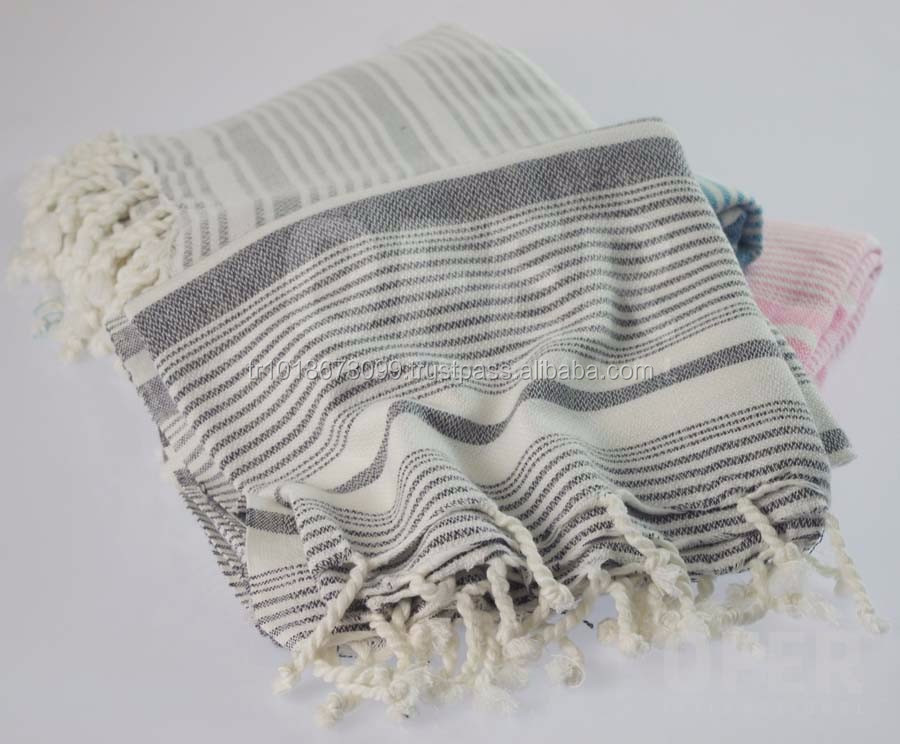 Assos Peshtemal Turkish Fouta Towels, Bamboo towel Pestemal, Hamam Towels Wholesale Blanket - Grey