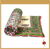 Double Bed Jaipuri Quilt Razai Hand Block Printed Floral Design Double Sided Quilt