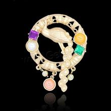 Newest elegant Gold color jewelry broach fancy brooch pin