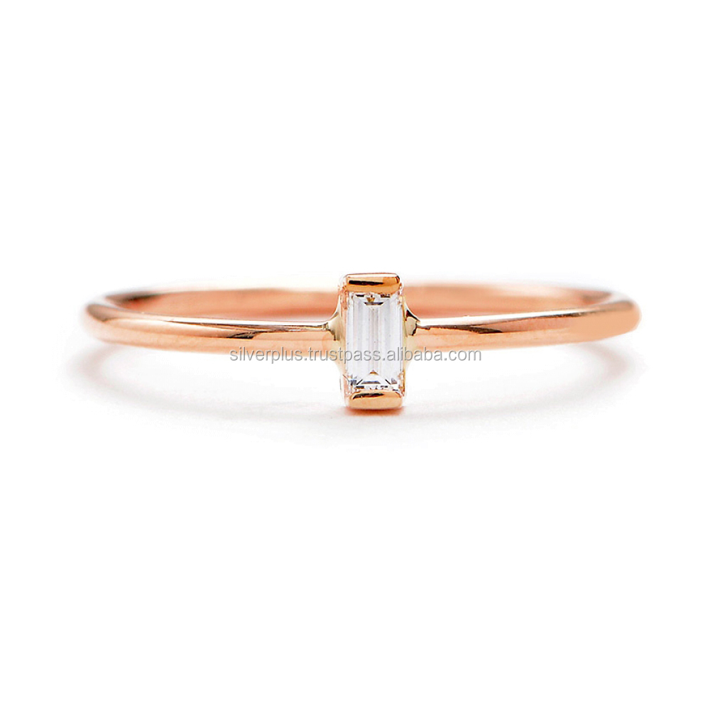 14k Rose Gold 0.50 Carat Single Baguette Diamond Band Ring Engagement Jewelry