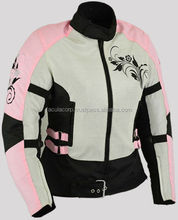 Women Ladies Motorcycle Motorbike Scooter Cordura Textile Jacket Pink Size FC-10736