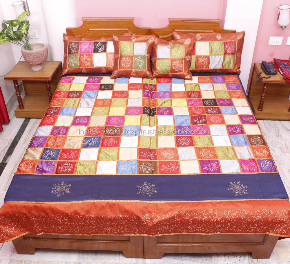 Indian Vintage Silk Jaipuri Bedsheet Hand Block Gold Print Associated Patch Work Bedspread Throw Blanket