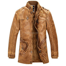 2016 Leather Jackets Slim Men Coats Winter Motorcycle Leather Jacket Fur Coat Distressed
