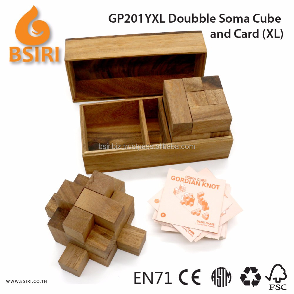 Doubble Soma Game and Card Wooden Puzzle Pieces