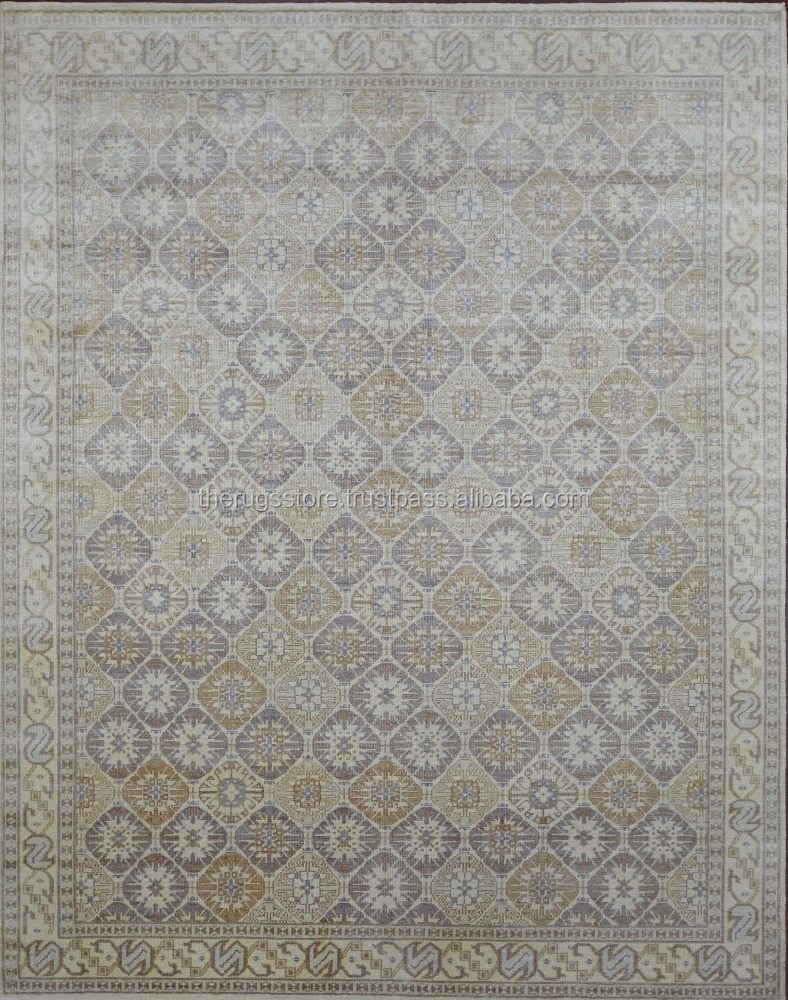 Hand Knotted Bamboo Silk Beige Color 8x10 Traditional Floor Rugs AD-16