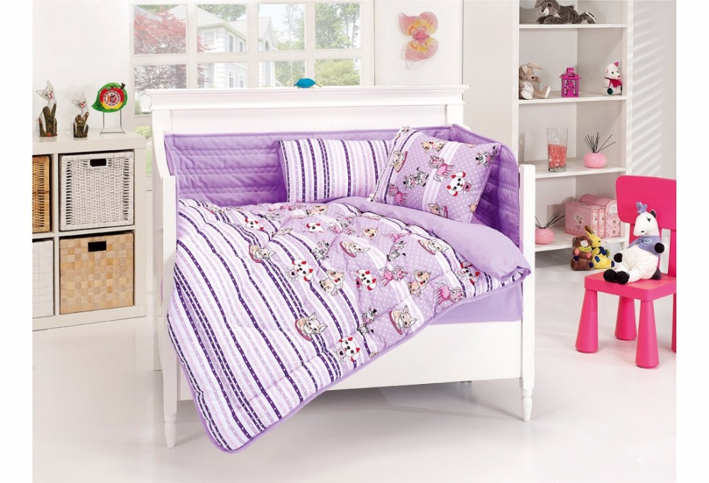 Funny Dogs and Cats Baby Sleeping Set Lilac Stripes