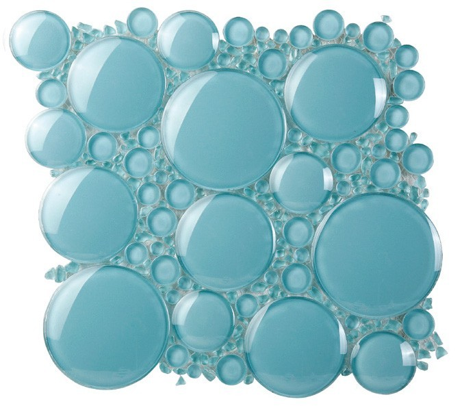 China Foshan Supplier Wholesale 6MM Thickness Round Bubble Glass Backsplash 3D Mosaic Tiles