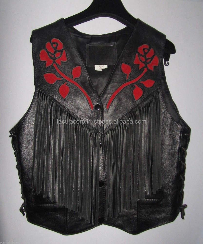 Black Leather & Red Rose Suede Applque Fringe Biker Waistcoat Jacket FC-8111