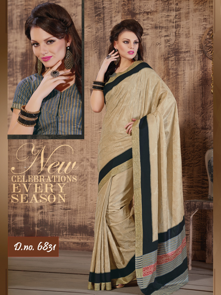 Chiku Color Saree In Tusaar Fabric