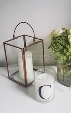 Brass Handle Brass Antique finish lantern glass and metal lantern new design ,candle holder , Brass Antique