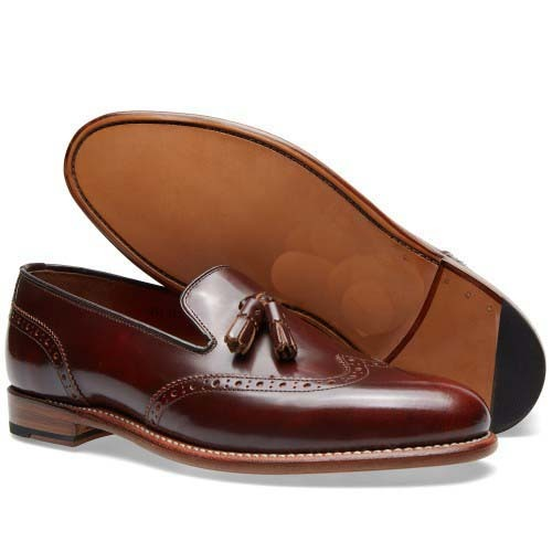 Handmade mens fashion loafer and slip ons brown dress shoes, Mens Wingtip shoes