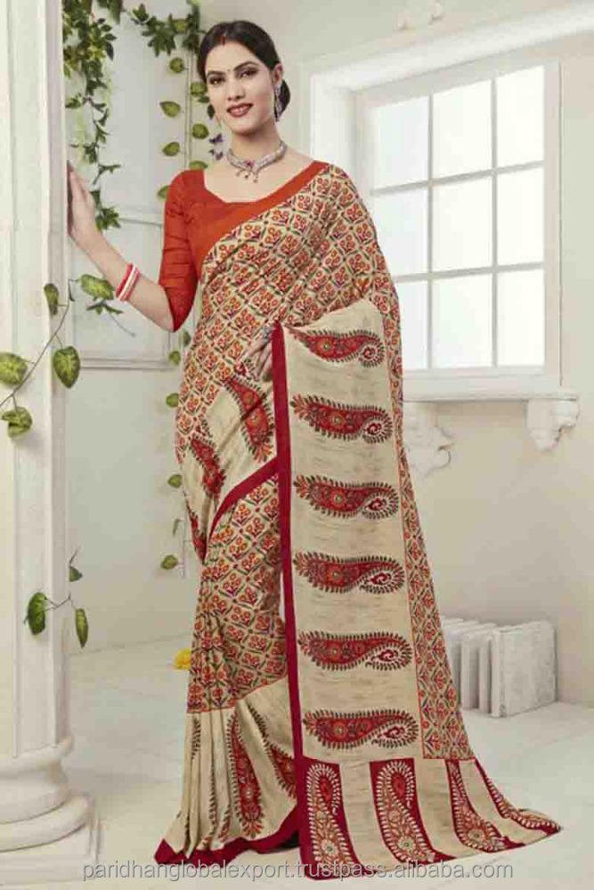 Art Silk Fabric Wholesale Printed Casual Wear Saree Catalog Supplier