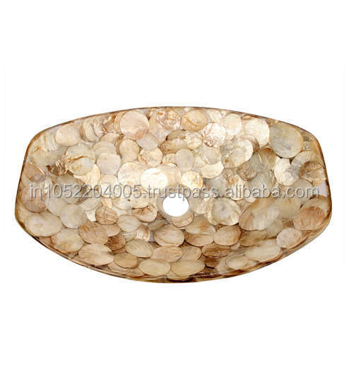 Mother Of Pearl Resin Wash Bowl Shell Designer