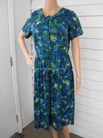 Very wholesale price printed dress rint Dress Vintage 50s Blue Green Neck Bow Floral Nylon L 40 Bust 30 Waist printed dress