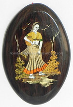 Village Woman with Matka - Inlaid Rosewood Wall Hanging For Sale