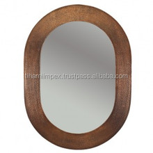 Wall Mounted Hand Hammered Oval Copper Mirror