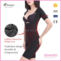 S - SHAPER Natural Slim Short Sleeve Caffeine Infused Bodysuit B0443B3