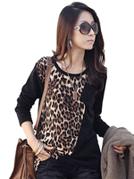 Leopard Print O-Neck Long Sleeve Cotton T-Shirt