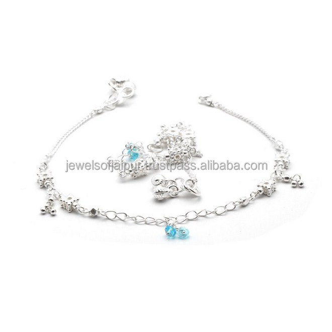 Indian Wholesale Fashionable Beaded Silver Anklet Comfortable For Everyday Wear Girls/Womens