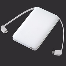 Ultra slim business card phone charger power banks with two built-in cable type C&apple adapter&micro cable for promotional gift