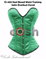 Overbust Green Color Satin Steel Boned Waist Training Corsets Supplier, Regular, Curvy, Standard, Short Corsets Manufacturer