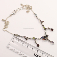 Exporter ! 925 Solid Sterling Silver Natural MULTI-COLOR Gemstones Women's Fashion Necklace