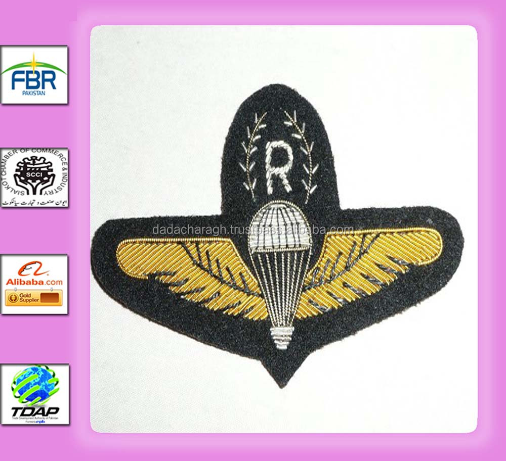 Malaysia Army Parachute Rigger para wing in bullion A13