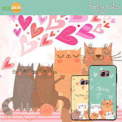 01021 For Galaxy S6 edge Plus/S6 edge/S6/S5/S4/S3_Family Cat Bumper_Smart Cellular Mobile Phone Case Cover Casing