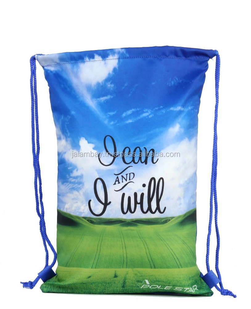 Promotional Fold able Polyester Pull String Bag Drawstring Backpack