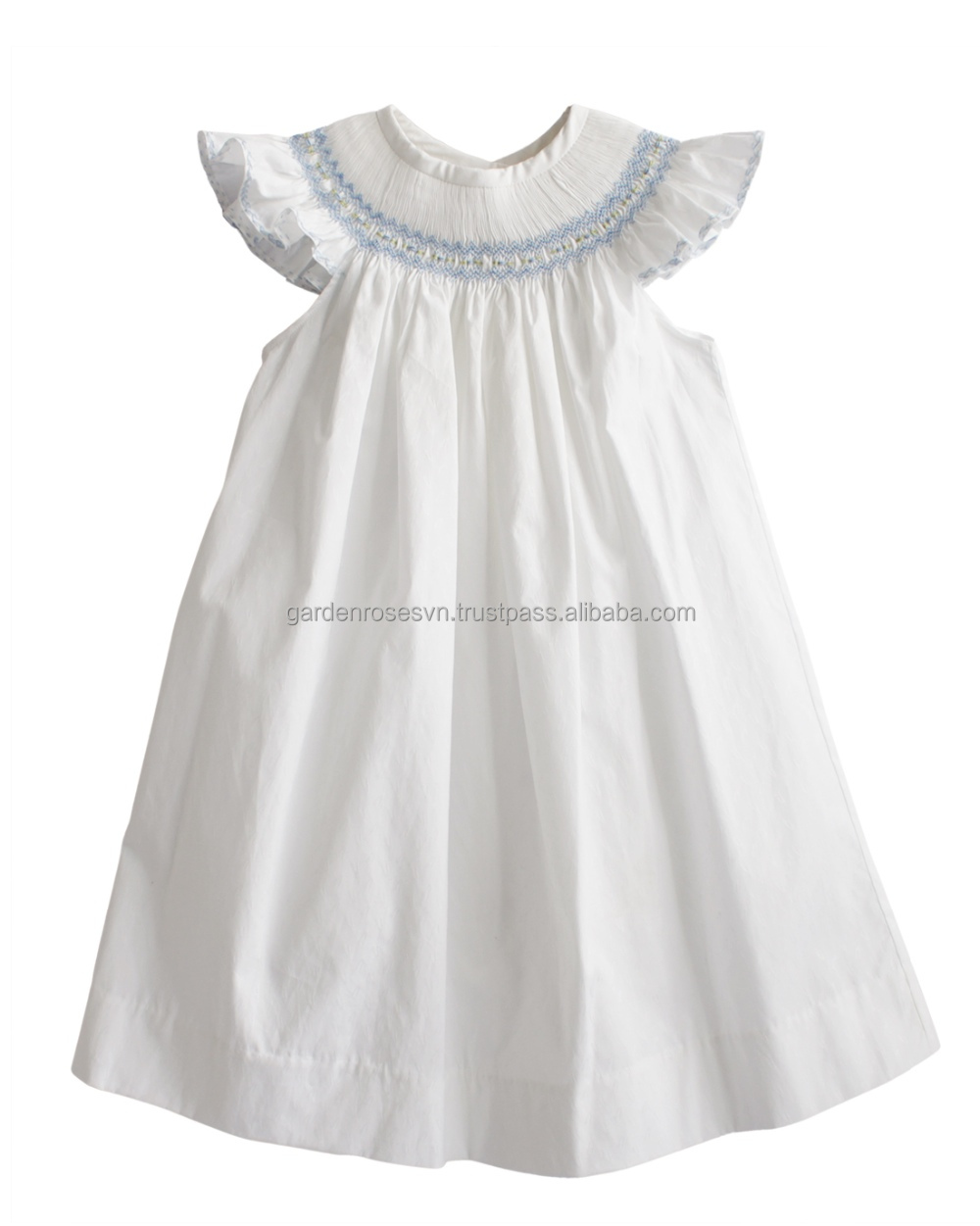White hand smocked dress for baby and girl in cotton poplin