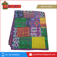 Vintage Patola Silk Sari Kantha Quilt Twin Bedspread for Sale